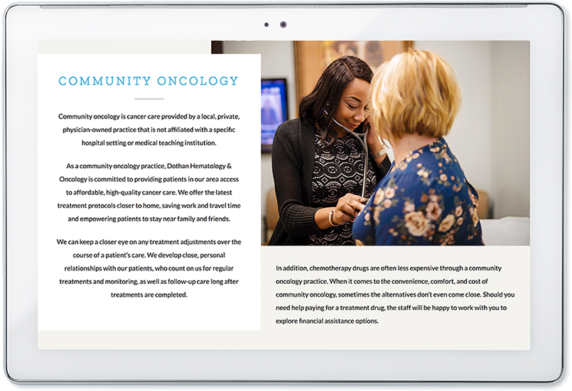 dothan hematology and oncology website design